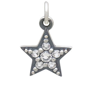 Star Charm Sterling Silver Crystal Set Five Point