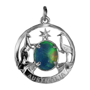 Australia coat of arms charm opal sterling silver or gold pendant