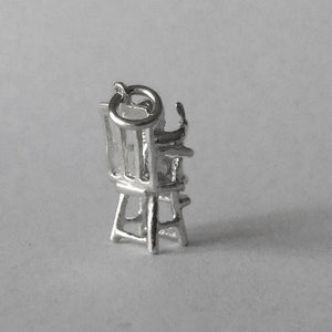 Moving Baby in High Chair Charm Sterling Silver Pendant