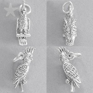 Cockatoo Charm Sterling Silver Bird Pendant