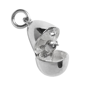 Opening Egg Charm with Chick Sterling Silver