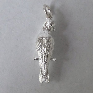 Galah charm sterling silver or gold bird pendant