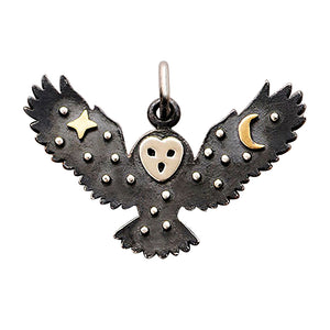 Owl Charm Sterling Silver with Bronze Star and Moon