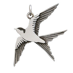 Swallow bird charm sterling silver pendant