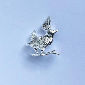 Wren charm sterling silver bird small pendant
