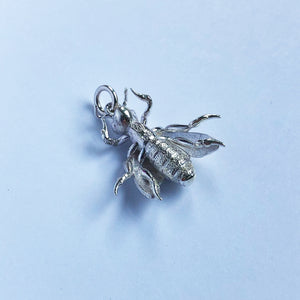 3D Honey Bee Charm Sterling Silver or Gold Pendant