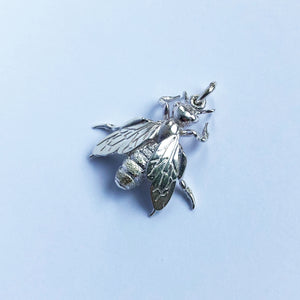 Bee Charm Sterling Silver or Gold 3D Pendant