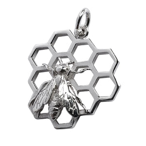 Honey bee on honeycomb charm sterling silver pendant