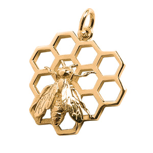 Honey bee on honeycomb charm 9ct 14ct or 18ct gold pendant