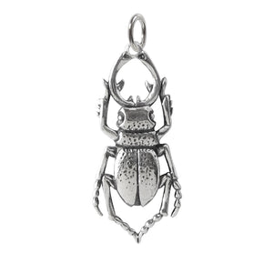 Stag Beetle Charm Sterling Silver Insect Pendant