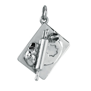 Pastry Board Charm Sterling Silver Baking Pendant