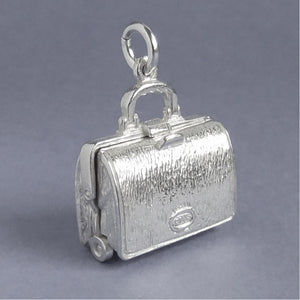 Briefcase Charm Opens to Lingerie Underwear Sterling Silver or Gold