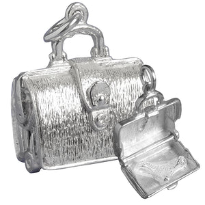 Briefcase Charm Opens to Briefs Underwear | Sterling Silver or Gold