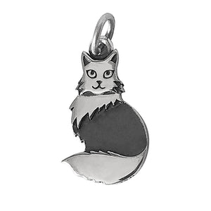Sterling silver long haired cat charm with open jump ring  for charm bracelet or necklace pendant