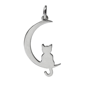 Cat on the moon silhouette charm sterling silver
