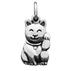Maneki-neko Japanese Cat Charm Sterling Silver