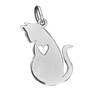 Cat Silhouette and Heart Charm Sterling Silver