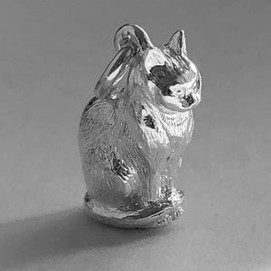 Domestic cat charm sterling silver or gold pendant