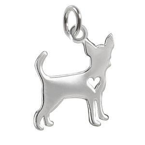 Chihuahua charm sterling silver dog silhouette pendant