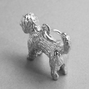 Labradoodle Dog Charm Sterling Silver Pendant Top