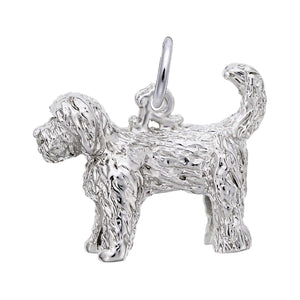 Labradoodle Dog Charm Sterling Silver Pendant Side