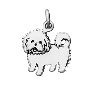 Maltese Terrier Charm Sterling Silver Dog Pendant