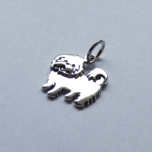 Maltese Terrier Charm Sterling Silver Dog Pendant Side