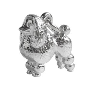 Poodle charm sterling silver or gold dog pendant