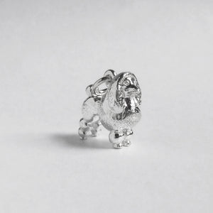 Poodle charm sterling silver or gold dog pendant side
