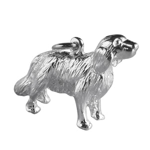 Golden retriever charm sterling silver dog pendant