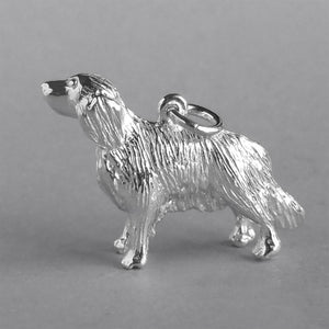 Sterling silver golden retriever charm dog pendant