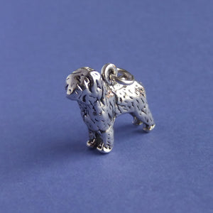 Old English Sheepdog Charm Sterling Silver Side