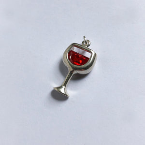 Glass of red wine sterling silver and crystal charm | Charmarama