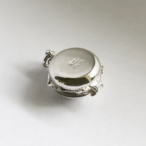 Opening Burger Charm Sterling Silver Opens to Cheese and Tomato