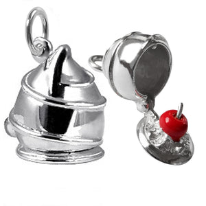 Chocolate Cherry Liqueur Charm Sterling Silver Red Enamel