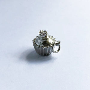 Cup Cake Charm Sterling Silver or Gold Pendant
