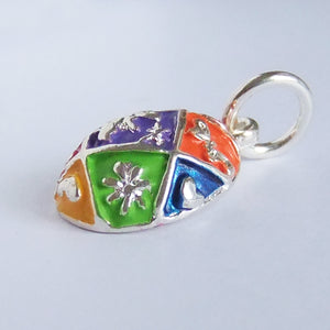 Easter Egg Charm Side Sterling Silver Enamel Pendant