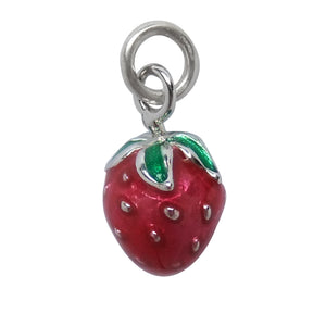 Strawberry Charm Sterling Silver Enamel