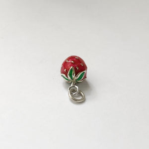 Strawberry Charm Sterling Silver Red Enamel