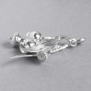 Gum Leaf and Nut Charm Pendant Sterling Silver or Gold