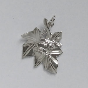 Ivy Leaf Charm Sterling Silver or Gold Pendant