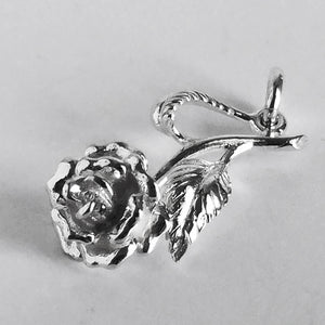 Rose Charm Sterling Silver or Gold Pendant from Charmarama