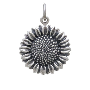 Sterling silver sunflower charm pendant Charmarama Charms