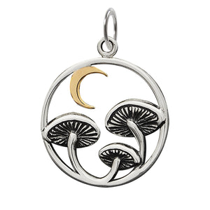 Toadstool and Moon Charm Sterling Silver Pendant