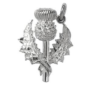 Thistle Charm Sterling Silver or Gold Flower Pendant