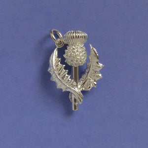 Scottish Thistle Charm Sterling Silver or Gold Flower Pendant