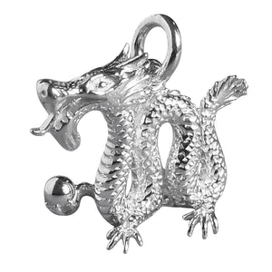 Sterling Silver or Gold Chinese Dragon Charm Pendant