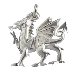 Welsh Dragon Charm Sterling Silver or Gold Wales Pendant