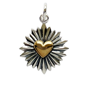 Heart with sun rays sterling silver and bronze charm