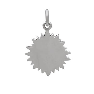 Heart with sun rays sterling silver and bronze charm back